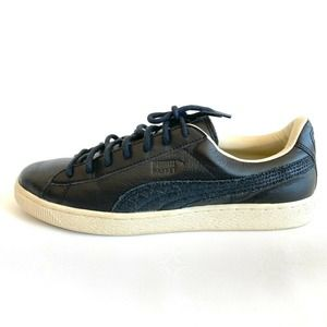 Puma Sneakers Basket Low Black Leather Off White